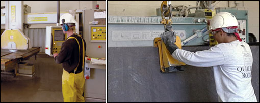 Granite fabrication process, courtesy of The Marble Institute of America